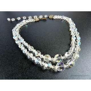 Vintage 1950s AB Crystal Glass Beaded Necklace, nk639