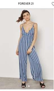 Forever21 blue and white stripes jumpsuit