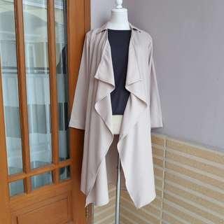 Long outer vest cardigan pastel