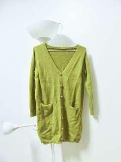 🚚 芥末綠針織長外套