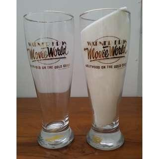 "Brand New Warner Bros. ""Movie World Gold Coast Australia"" Pint Beer Glass Price Reduced to S$22, Org @ S$28 for a set of 2"