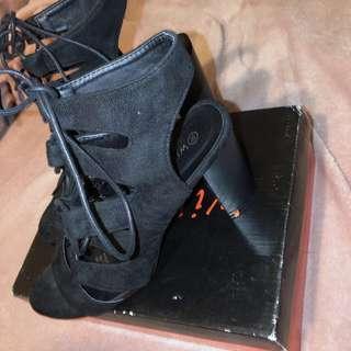 Suede black tie up shoes