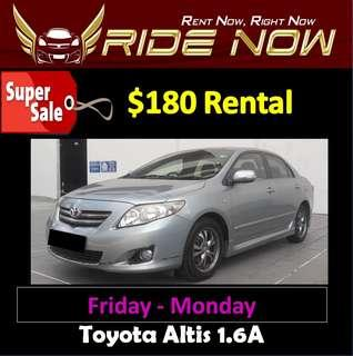 $180 Toyota Altis 1.6A Weekend Car Rental Promotion