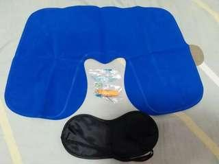 【旅行3寶Trip Equipment】頭枕Headrest(藍Blue/灰Grey)、眼罩Eye mask、耳塞Earplug