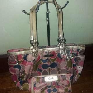 Bundles matching Coach scarf print bag and wallet