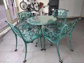 Patio/Outdoor Cast Iron Glass Top Table & 4 Chairs