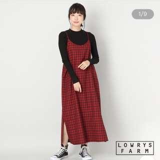 紅黑格紋細肩吊帶裙 洋裝 側邊開衩