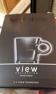 NESPRESSO 特濃咖啡玻璃杯/不銹鋼碟兩套