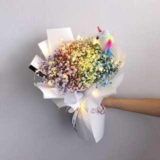 Christmas Flower  Rainbow baby's breath bouquet   Fresh flower bouquet   Birthday Flower   Fresh Flower  彩虹满天星花束  鲜花 花束