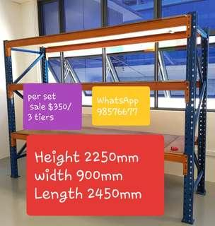 SALE ●USE● HEAVY  DUTY  RACKING      H  2250MM × W900MM × L2450MM PER ONE VERTICAL SIDE STRUCTURE $90/ .ORANGE  BEAMS SALE $25/.