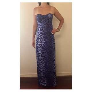 JANE NORMAN Purple Strapless Leopard Animal Print Maxi Dress Sz AU 10-12