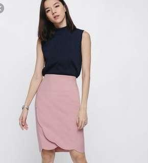 ✨Clearance Sale✨Love Bonito Scallop Crossover Skirt in Pink