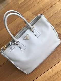 Creme Leather Prada Handbag