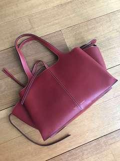 Red Celine Leather Handbag