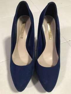 Royal blue suede heels