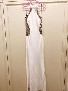 White metallic dress