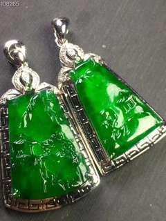 天然Jade翡翠A貨18K金鑲嵌吊墜Pendant