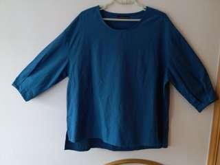 藍色 長身 中袖上衣, 容易襯衫