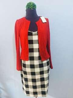 Gingham Dress with Red Blazer