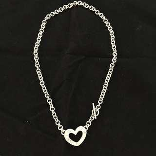 Vintage 925 Sterling Silver Open Heart Short Necklace w Diamante