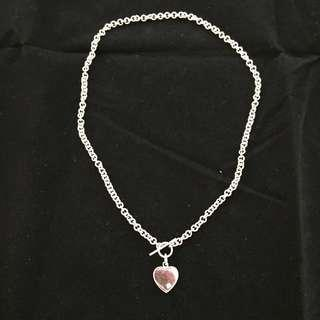 Vintage 925 Sterling Silver Heart Pendant Necklace
