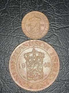1945年荷蘭2 1/2 和1/2圓銅幣一對9品