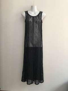 ⚀ Ueily Korea Crochet Black Long Dress
