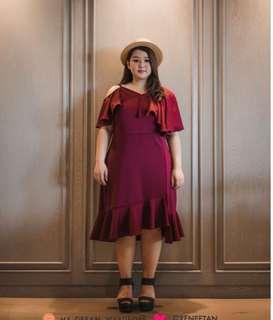 Elegant Red / Maroon Dress Bigsize / Plussize