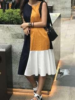Dress colorblock / dress japan / dress korea