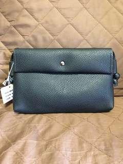 全新 無牌子 女裝 黑色 磁石扣 小手袋 斜咩袋 證件袋 人造皮革 聖誕禮物