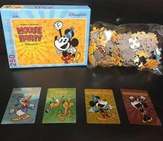 HONGKONG DISNEYLAND MOUSE PARTY 250 PUZZLE , 香港迪士尼奇妙處處通會員250塊砌圖連珍藏咭,(全新未開)