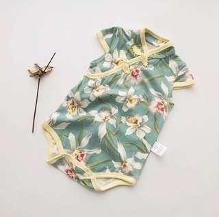 [Pre-order] Chinese New Year baby romper clothes green white cheongsam qipao