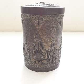 Vintage Antique 800 Silver Hammered Design Tall Round Container