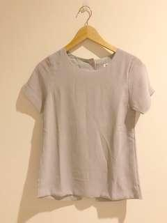 Grey Button Back Top