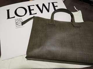 LOEWE Goya Simple Briefcase Khaki Green