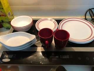 Sets of 4 of plates, saucer and bowls