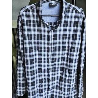 Tank White and Blue Flannel Long Sleeves