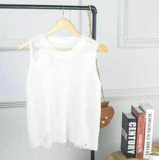 BN White Knitted Frayed Top