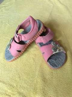 Scholl Pink Glitter Butterfly Baby / Toddler / Kids Girl / Gals Casual Slippers Sandals Shoes size 29 19.5cm