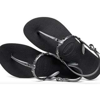 Havaianas Freedom Swarovski Black Sandals 37/38