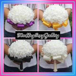 🚚 #[29]🌹◾🅿🅾◾🌹2018 Beautiful White Ivory Bridal Bridesmaid Flower Wedding Bouquet Artificial Flower Rose Bouquet Crystal Bridal Bouquets