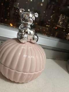 全新 白瓷 銀色熊仔 teddy bear 粉紅 首飾收納 首飾盒