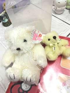🚚 白色天使熊熊娃娃(贈黃色小熊🐻娃娃)