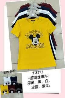 **Please ask for stock first before u place ur order.  Tqvm  Ladies Mickey Mouse Short Sleeve T-shirt