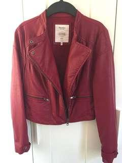 #LadiesXmasGift Bershka fake leather Jacket size s 短仿皮褸