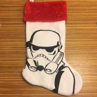 全新 聖誕襪star wars 白武士 車花 立體 絨毛
