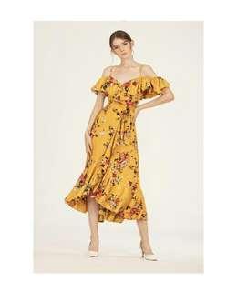 Doublewoot ruffle asymmetrical dress