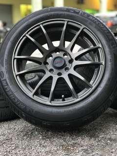 Rays gramlight 15 inch sports rim vios tyre 70%