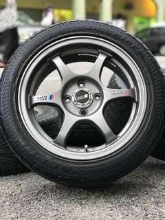 Ssr type c-rs 15 inch sports rim axia tyre 80%