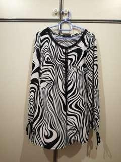 Zebra Style Flowy Blouse #MY1212